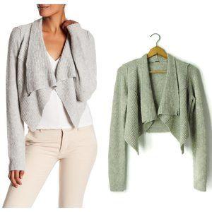 Elie Tahari Crop Drape Front Wool Cashmere Cardiga